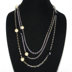 Vintage silver and brass pearl and black necklace